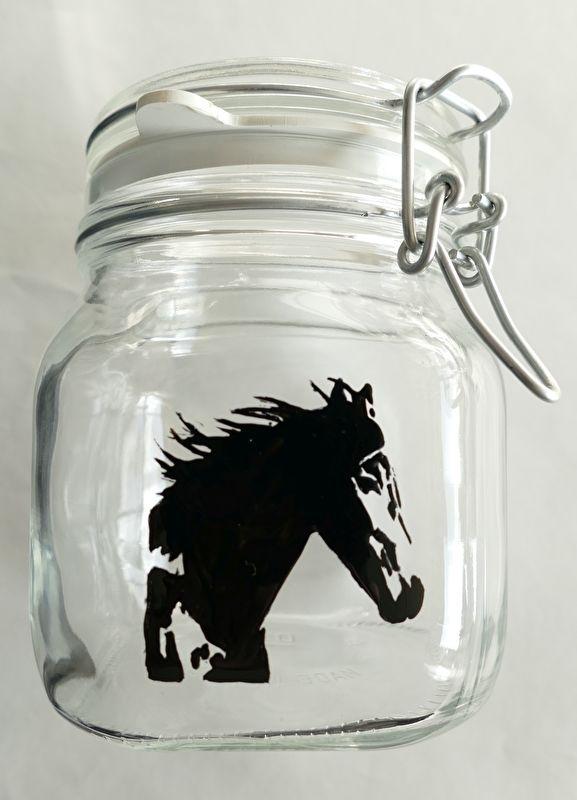 Voorraadpot /weckpot  pot met paard