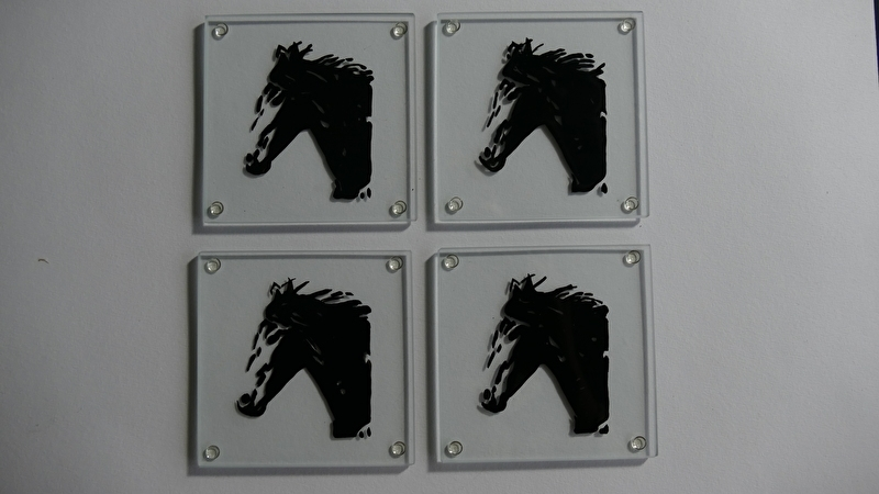 4 x glass coasters horse