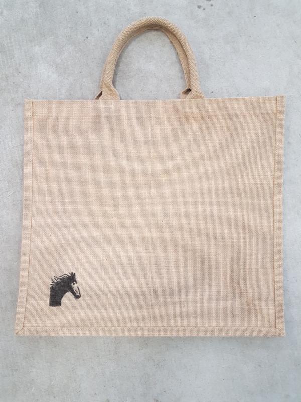 Jute shopper tas met schildering paard