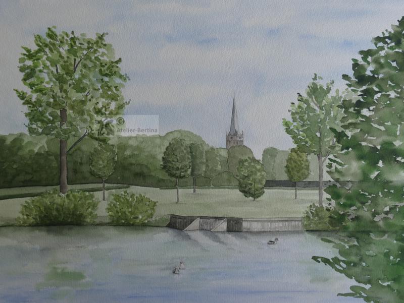 Kerktoren van Raalte (Drosten kamp) aquarel schilderij