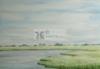 Aquarel water landschap schilderij