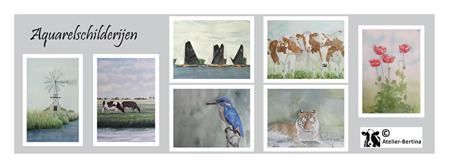 aquarel schilderij in opdracht landschap koe paard boot tijger ijsvogel giraf klaproos bloem nederland friesland salland molen kunst