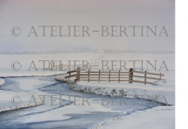Aquarel winter schilderij: Winter slootje