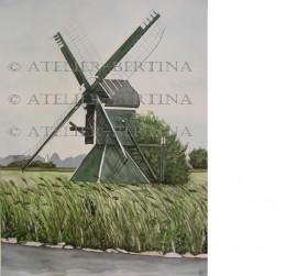 Aquarel schilderij: Spinkop molen te Akkrum