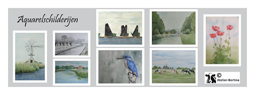 aquarel schilderijen koe landschap klaprozen landschap paard vogels atelier bertina