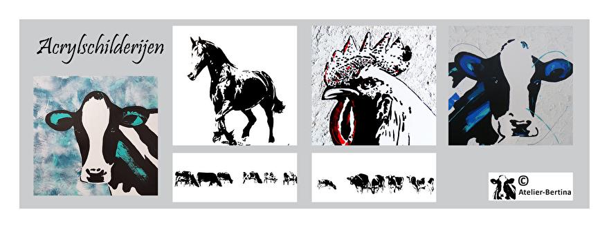 acryl schilderij op canvas doek uniek koe paard kunst haan kip varken in opdracht ljip vogel zwart wit