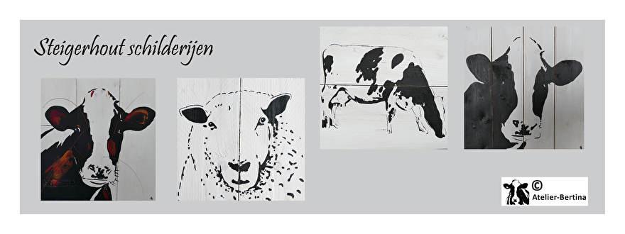 steigerhout acryl zwart wit schilderij in opdracht kunst landschap koe paard vogel nederland friesland klaproos dieren natuur
