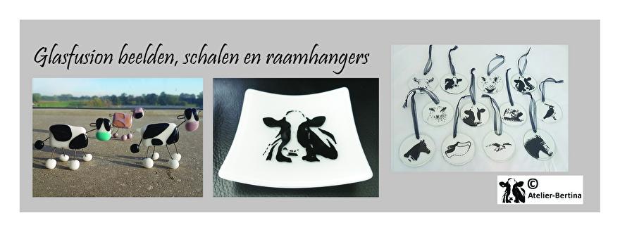 glasfusion beelden glashangers schalen glas koe paard schaap geit haan