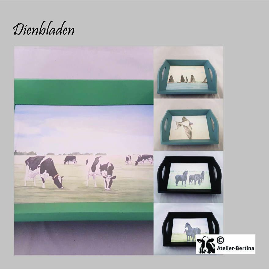 dienbladen koe paard landschap