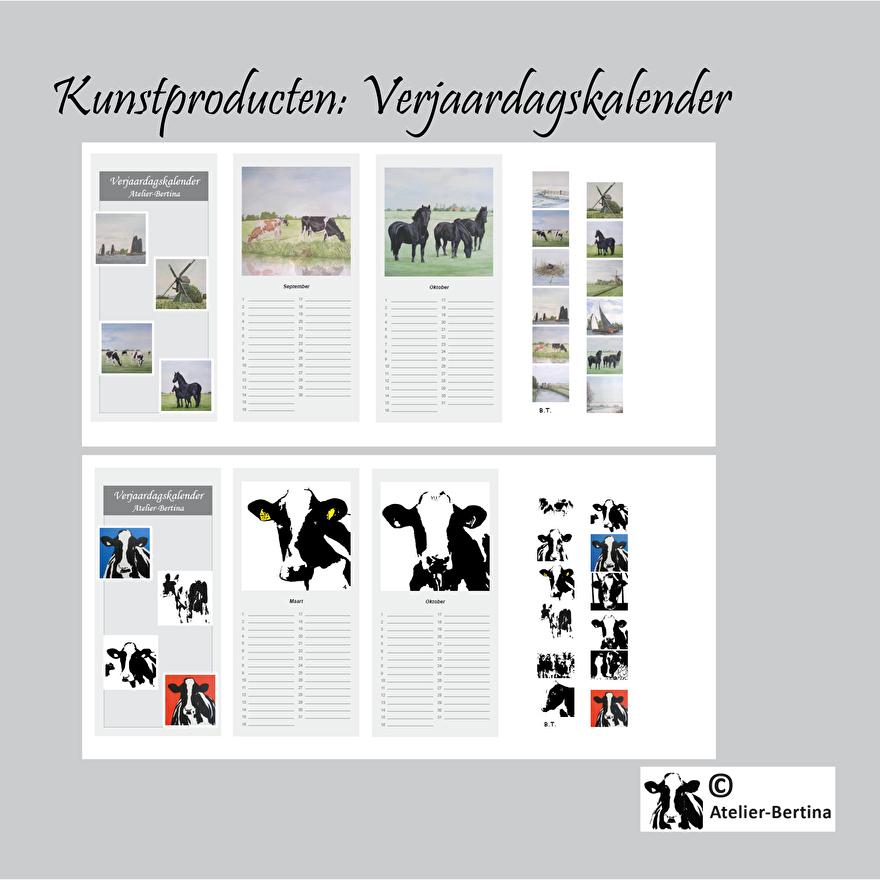 verjaard kalender kunst landschap koe paard geit varken schaap kievit vogel zeehond varken kunst