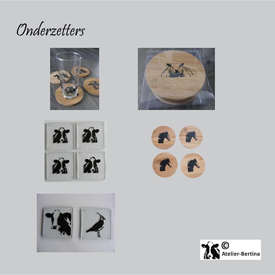 onderzetters glas en hout kunst schilderij van een koe paard geit schaap varken zeehond  kievit