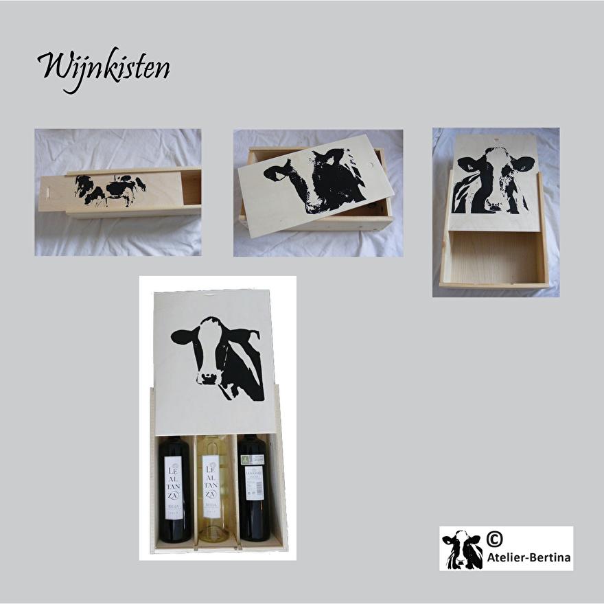 wijn kist kunst koe kerst paard op maat