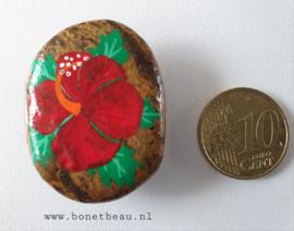Stenen magneet  bloem Rood