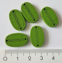 """Houten label """"Handmade"""" groen per 5 stuks"""