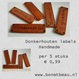 Donkerhouten label Handmade per 5 stuks