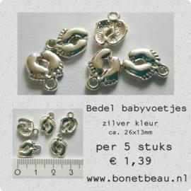 Bedel Babyvoetjes per 5 stuks kleur zilver