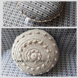 Mini Zeeuwse Knop Kussen Linnen - Blokje 18cm