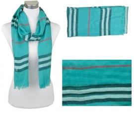 Voile sjaal, ca.190x90cm Blauw-Groen