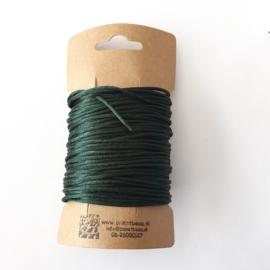 Satijnkoord  ± 1,5mm ca. 10 meter:  donker groen