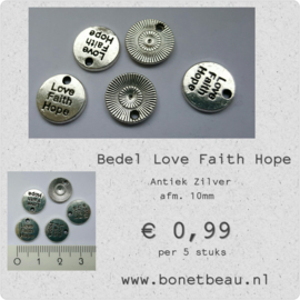 Bedel Love Faith Hope per 5 stuks