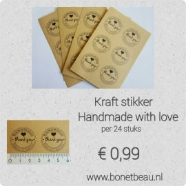 Kraft stikker Handmade with love
