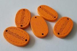 "Houten label ""Handmade"" oranje per 5 stuks"