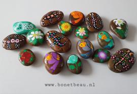 Stenen magneet bloem Wit