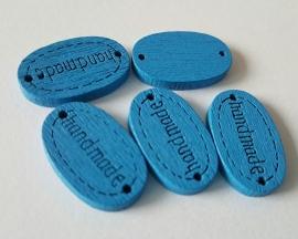 """Houten labels """"Handmade"""" blauw per 5 stuks"""