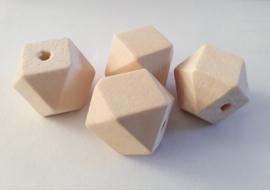 Houten kraal Kubus blank ca. 22mm per 4st