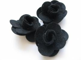 Vilten applicatie bloem zwart 3 stuks