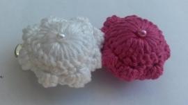 Haarspeld Zeeuwse knop wit-rose