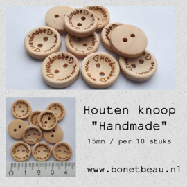 "Houten knoop ""Handmade with love"" 15mm"