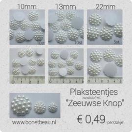 Zeeuwse Knop plaksteen 10mm 10 stuks wit