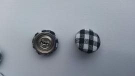 Stofknoop zwart-wit geblokt 15mm