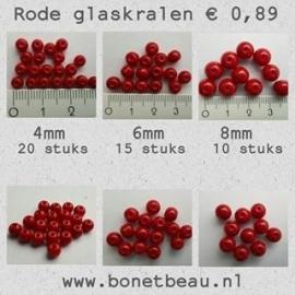 Rode glaskralen, 4mm, 6mm en 8mm