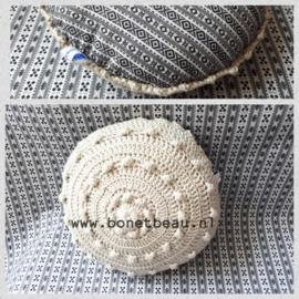 Mini Zeeuwse Knop Kussen Linnen - ruitje 18cm