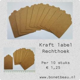 Kraft label Rechthoek per 10 stuks