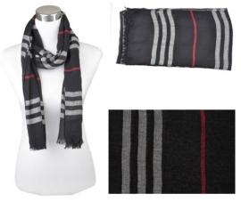 Voile sjaal, ca.190x90cm Zwart-Grijs