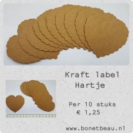 Kraft label Hartje per 10 stuks