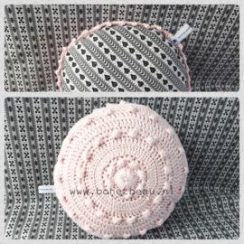 Mini Zeeuwse Knop Kussen Baby Roze - Hartje 18cm