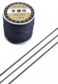 Satijnkoord ± 1mm per meter: zwart