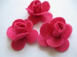 Vilten applicatie bloem roze 3 stuks