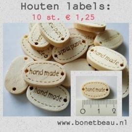 "Label ""handmade"" hout per 10 stuks"