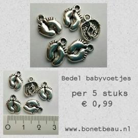Bedel Babyvoetjes per 5 stuks kleur Antiek zilver