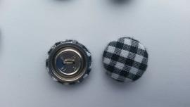 Stofknoop zwart-wit geblokt 19mm