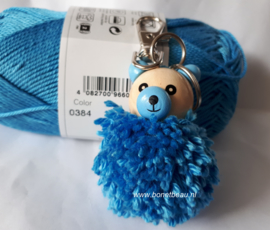 Doe-het-zelf pakket sleutelhanger Fluffy beer blauw