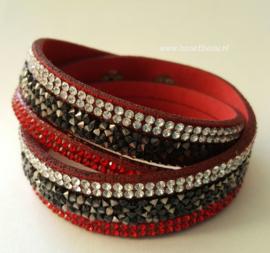 Wikkelarmband rood-zwart