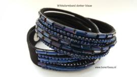 Wikkelarmband donker blauw