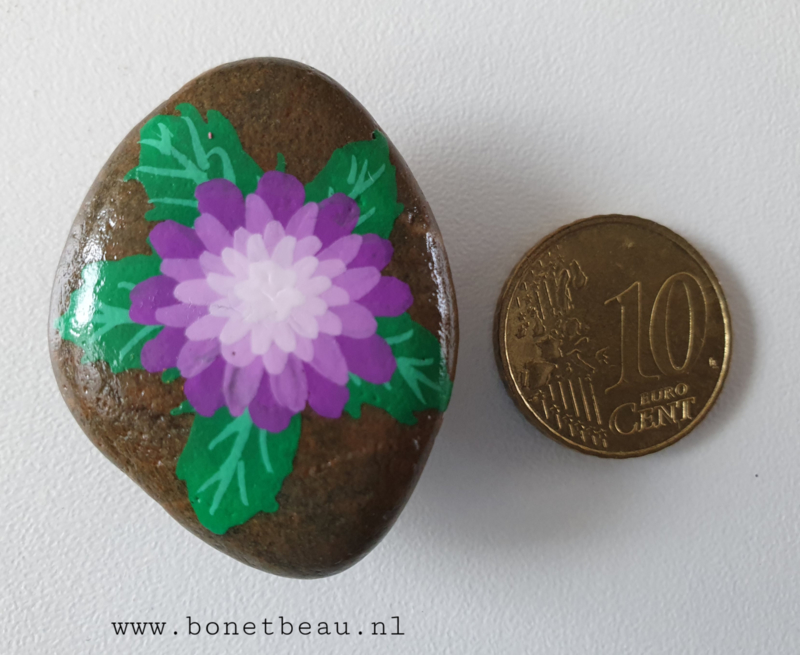 Stenen magneet bloem Paars