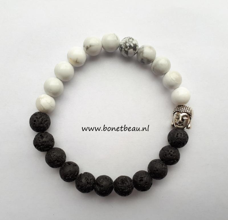 Armband zwart-wit met Boeddha bedel